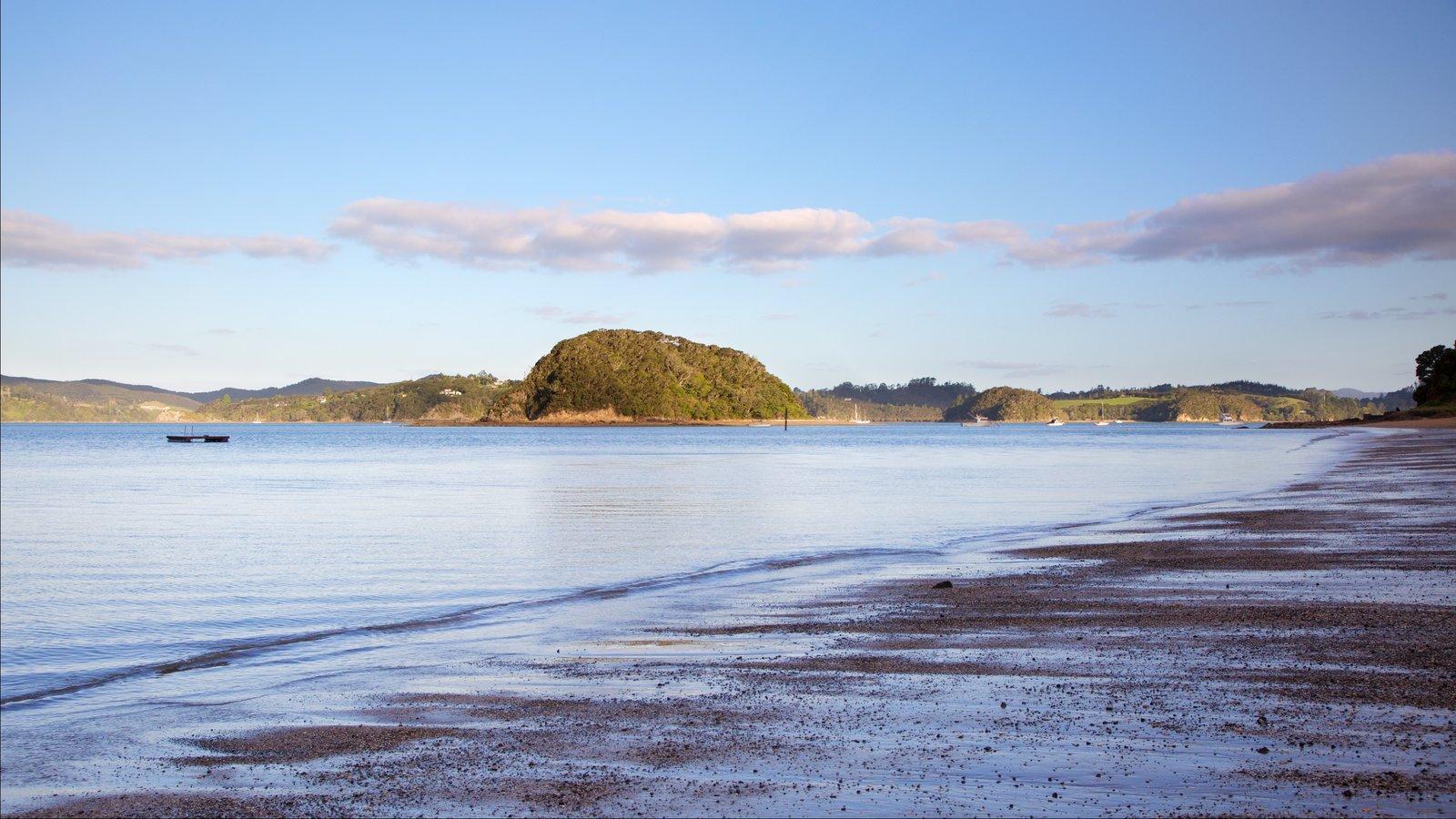 Paihia ofreciendo una playa, vistas generales de la costa y una bahía o puerto