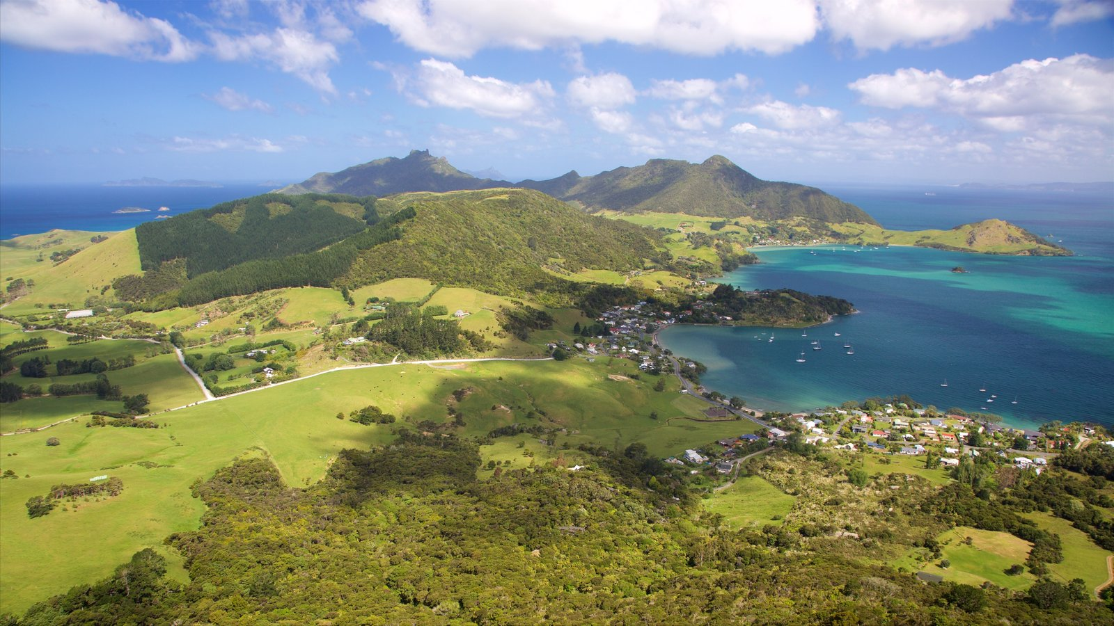 Mount Manaia featuring a coastal town, tranquil scenes and a bay or harbor