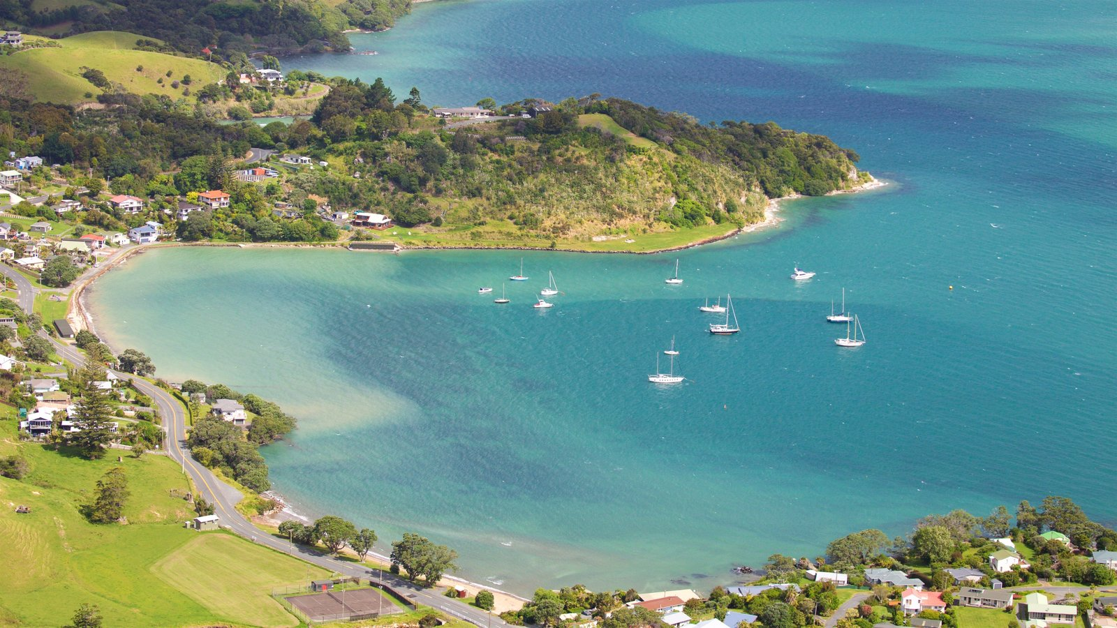 Mount Manaia showing a bay or harbor, sailing and a coastal town