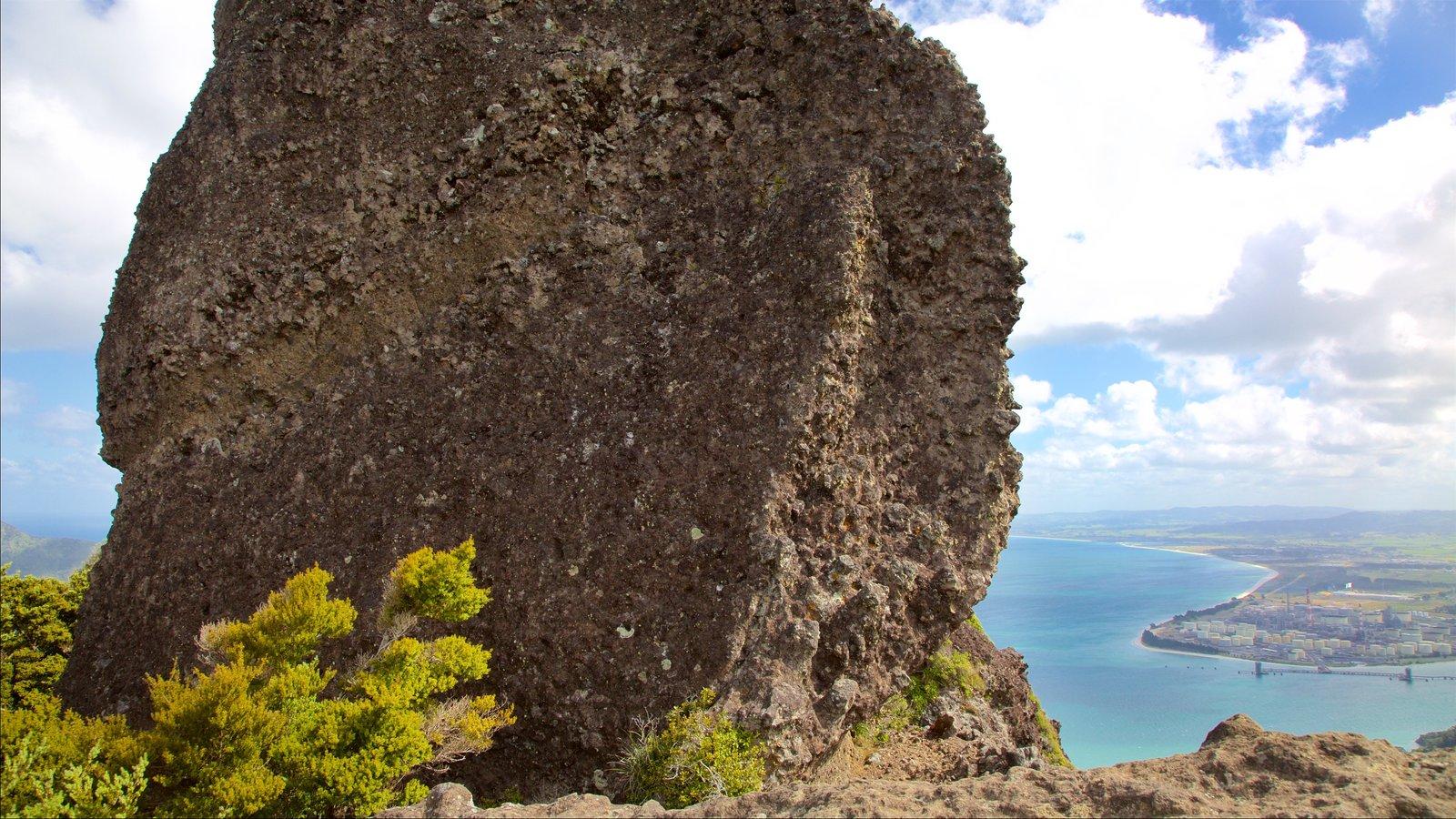 Mount Manaia mostrando una bahía o puerto y costa rocosa