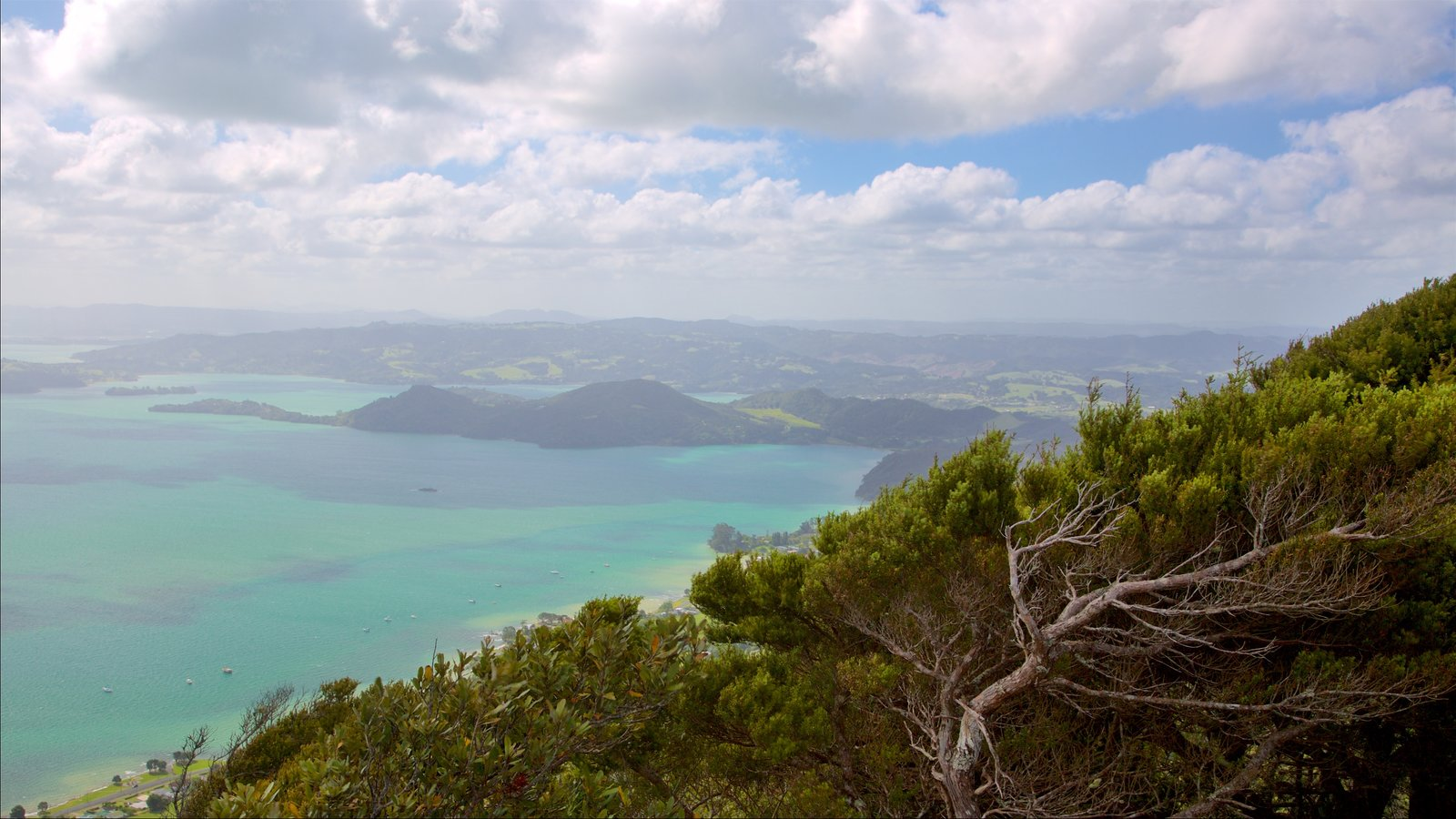 Mount Manaia featuring island views and a bay or harbor