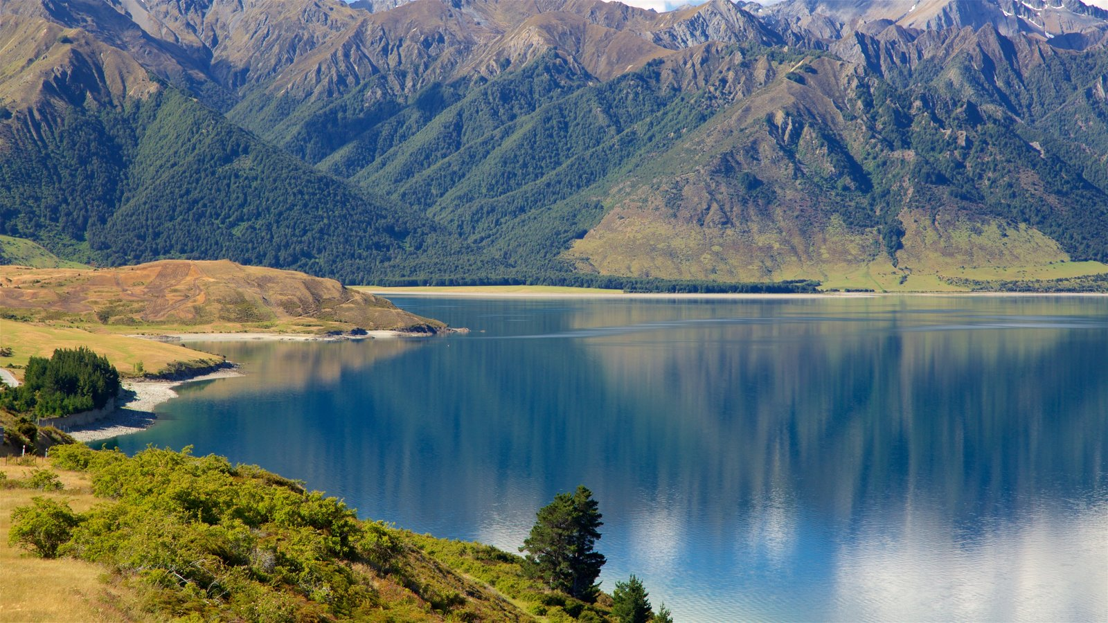 Lake Hawea showing forests, mountains and a lake or waterhole