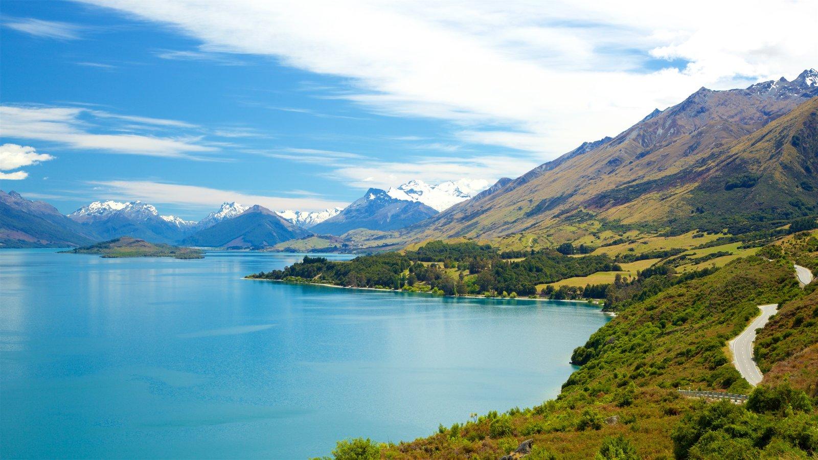 Lake Wakatipu which includes a lake or waterhole and mountains