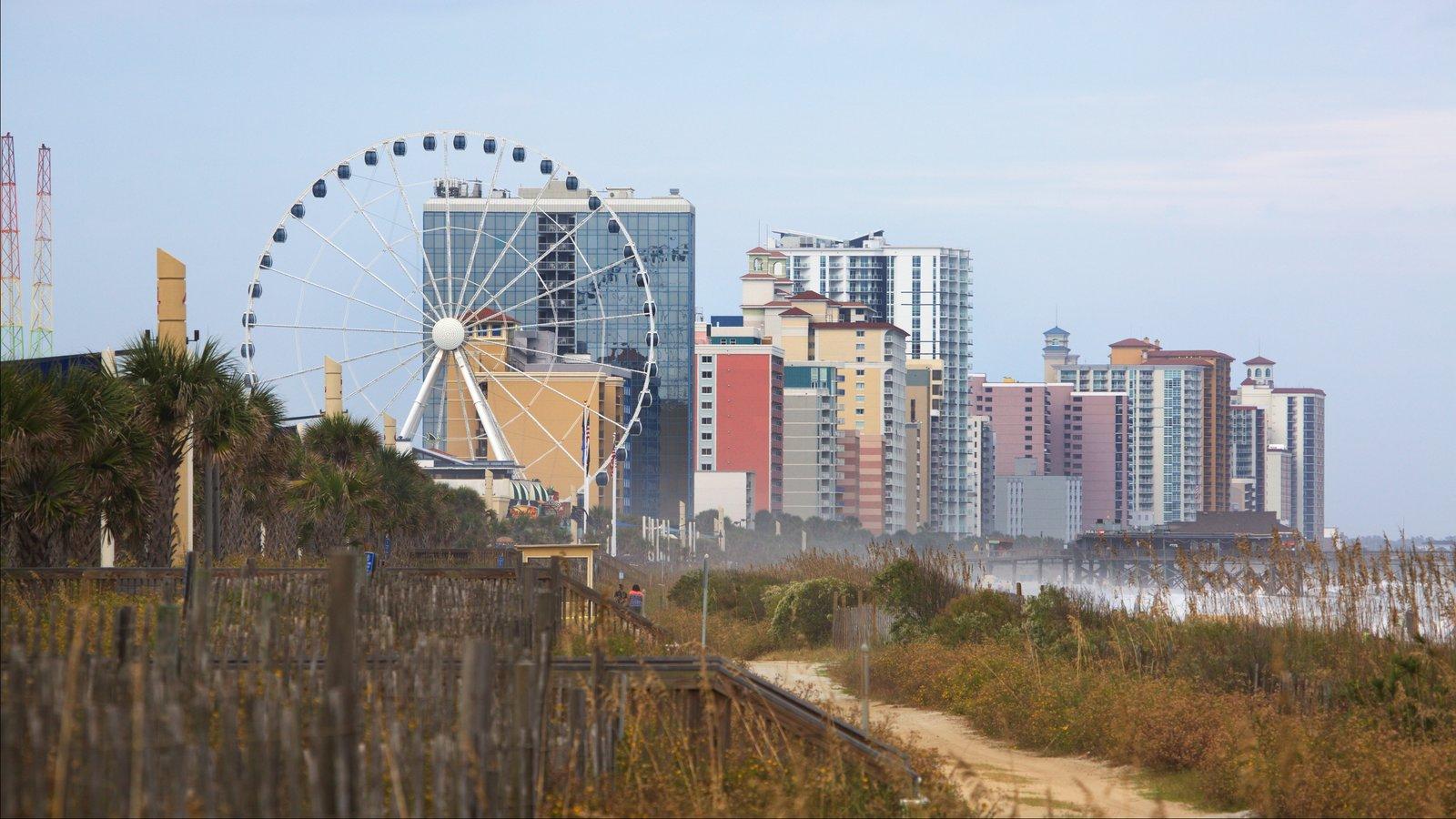 Região costeira da Carolina do Sul mostrando paisagens litorâneas e uma cidade