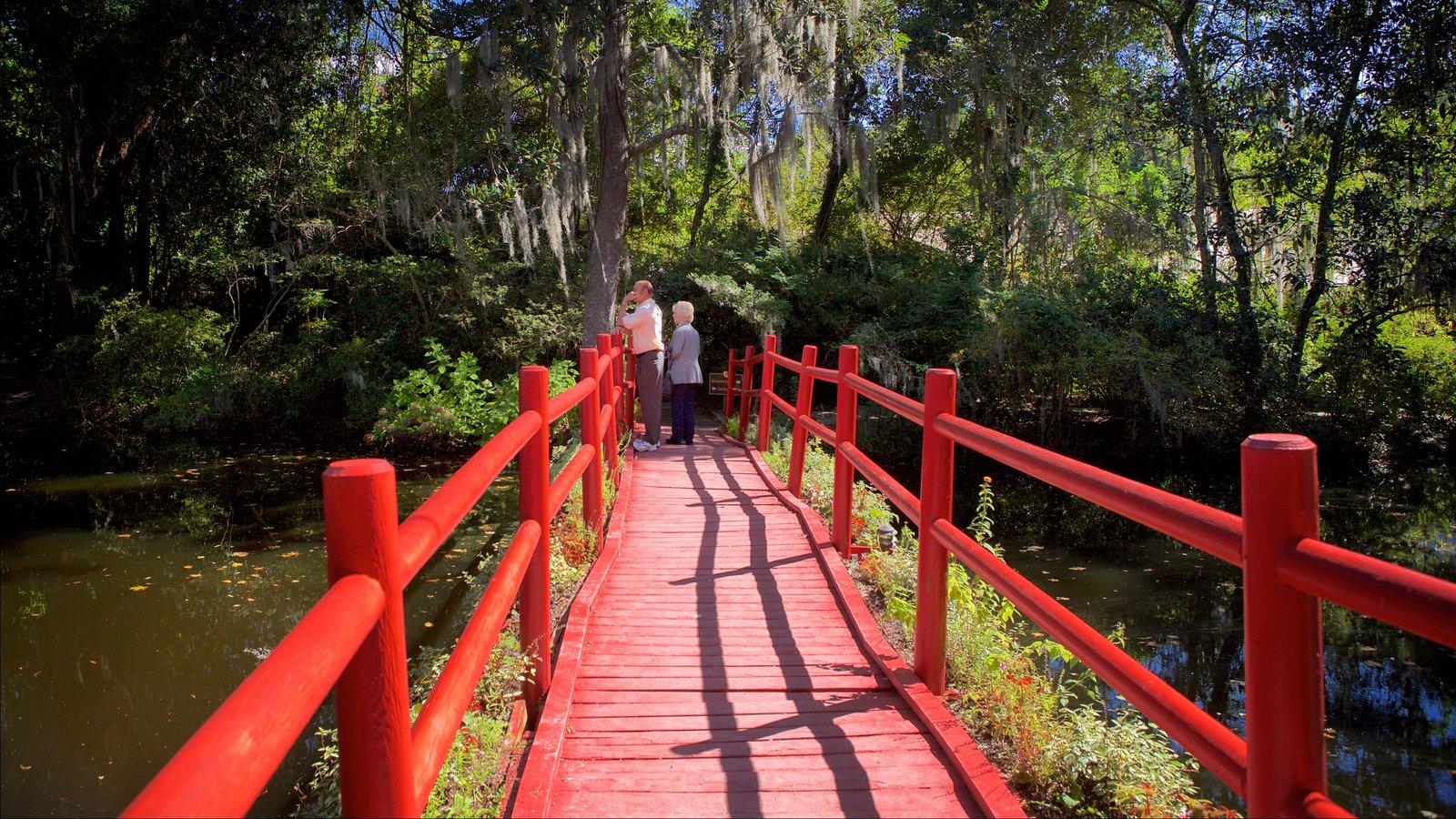 Magnolia Plantation and Gardens mostrando um rio ou córrego e uma ponte assim como um casal