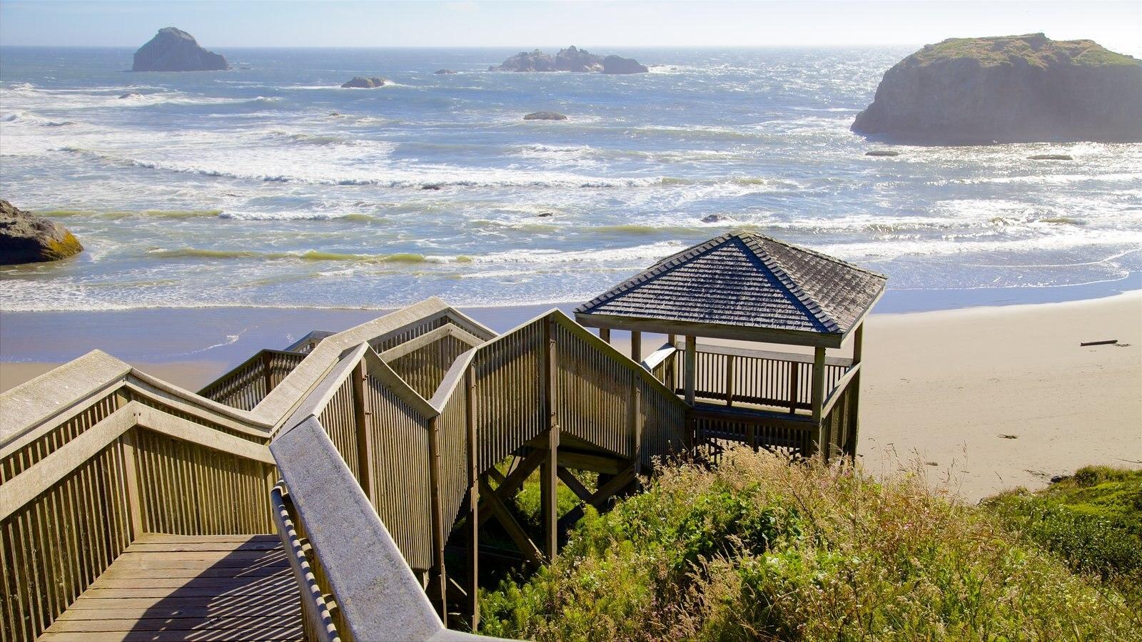 Bandon Beach caracterizando uma praia, paisagens da ilha e uma ponte