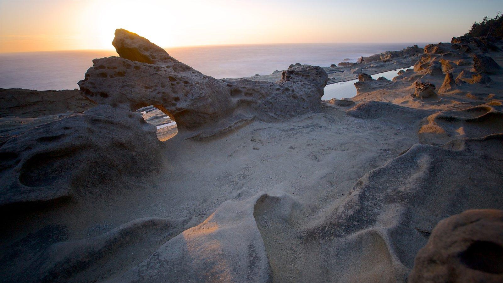 Parque estatal Shore Acres que incluye costa escarpada y una puesta de sol