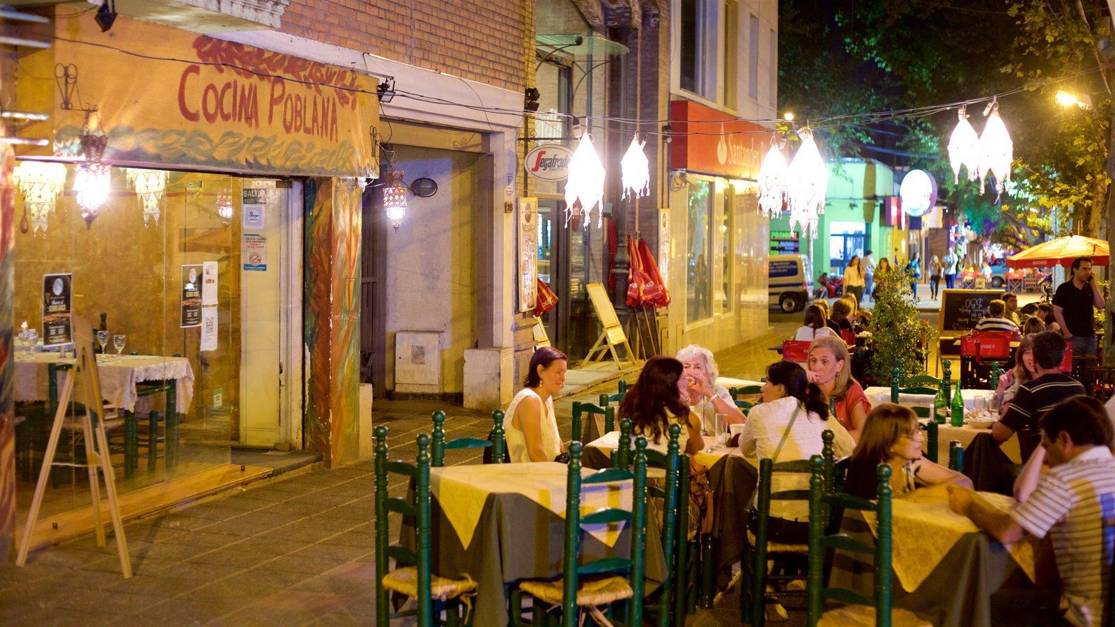 Região Vinícola de Mendoza que inclui cenas de rua, cenas noturnas e jantar ao ar livre