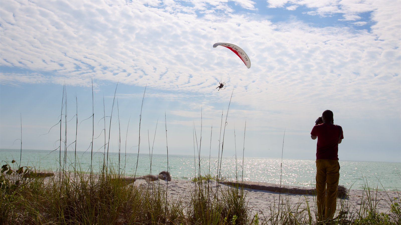 Barefoot Beach featuring skydiving, a sandy beach and a bay or harbor