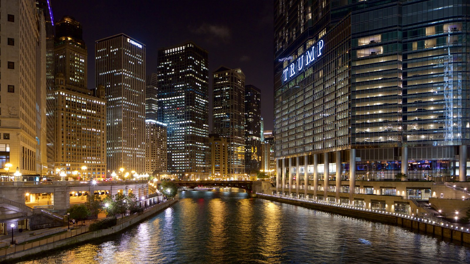 The Loop - Downtown showing a river or creek, night scenes and cbd