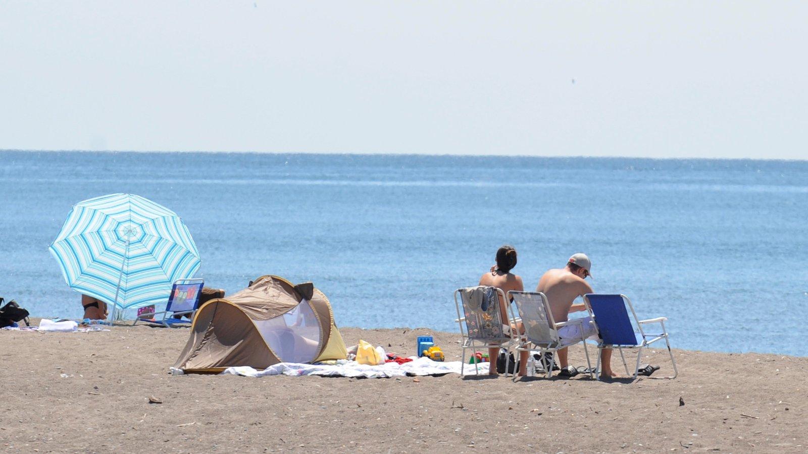 Sur de Ontario ofreciendo vistas generales de la costa y una playa y también un pequeño grupo de personas