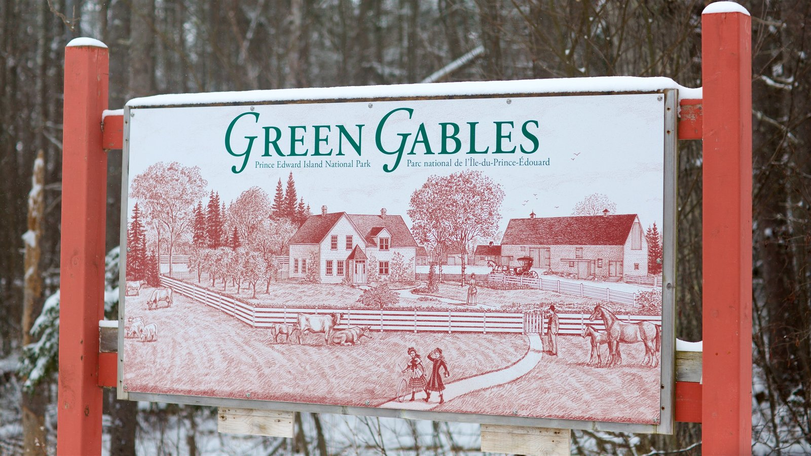 Green Gables showing snow and signage