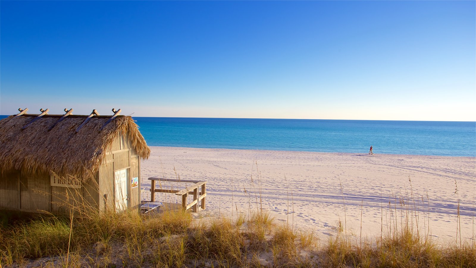 Florida Panhandle which includes a bay or harbor and a sandy beach