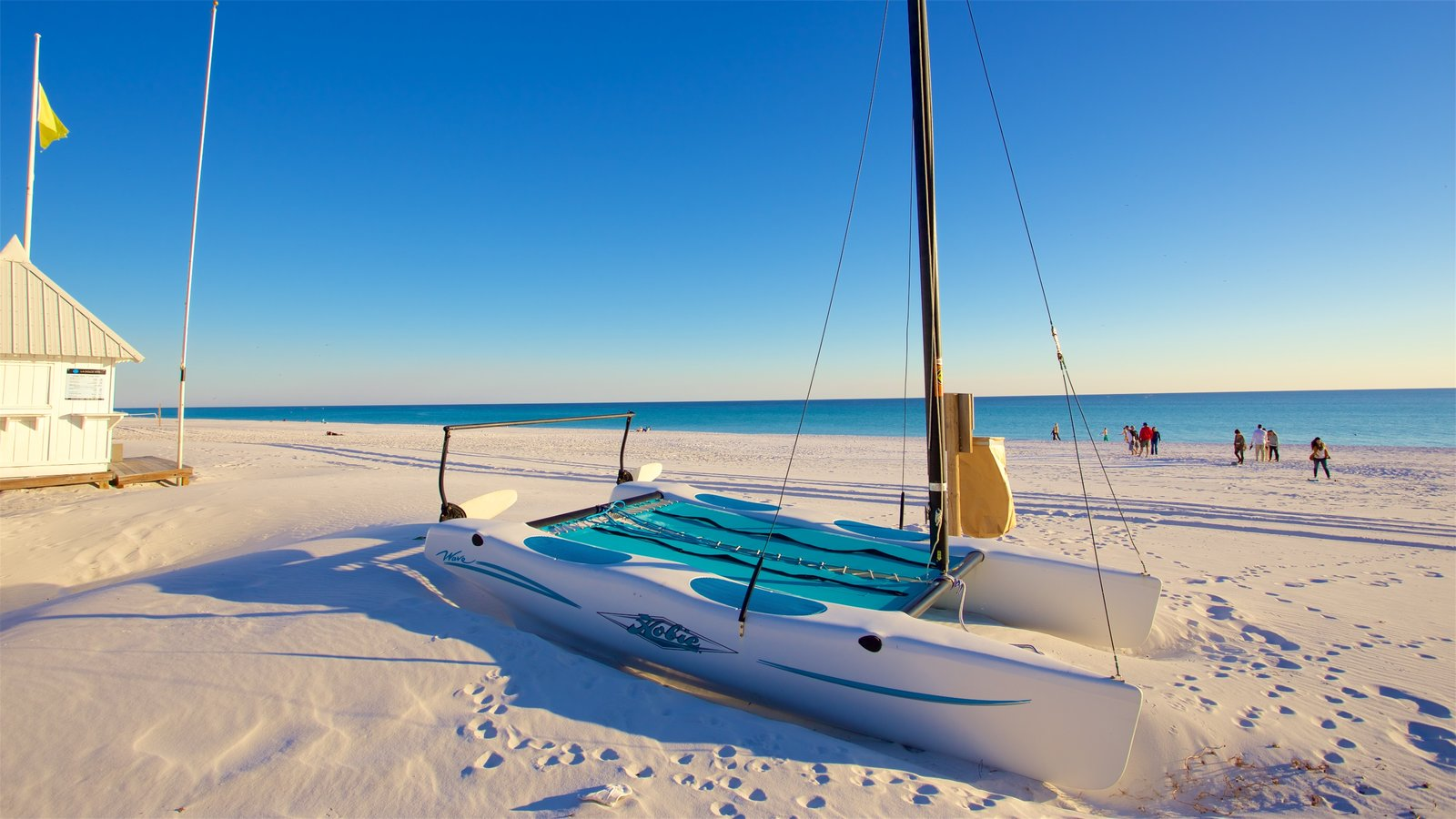 Florida Panhandle featuring a bay or harbor, sailing and a beach