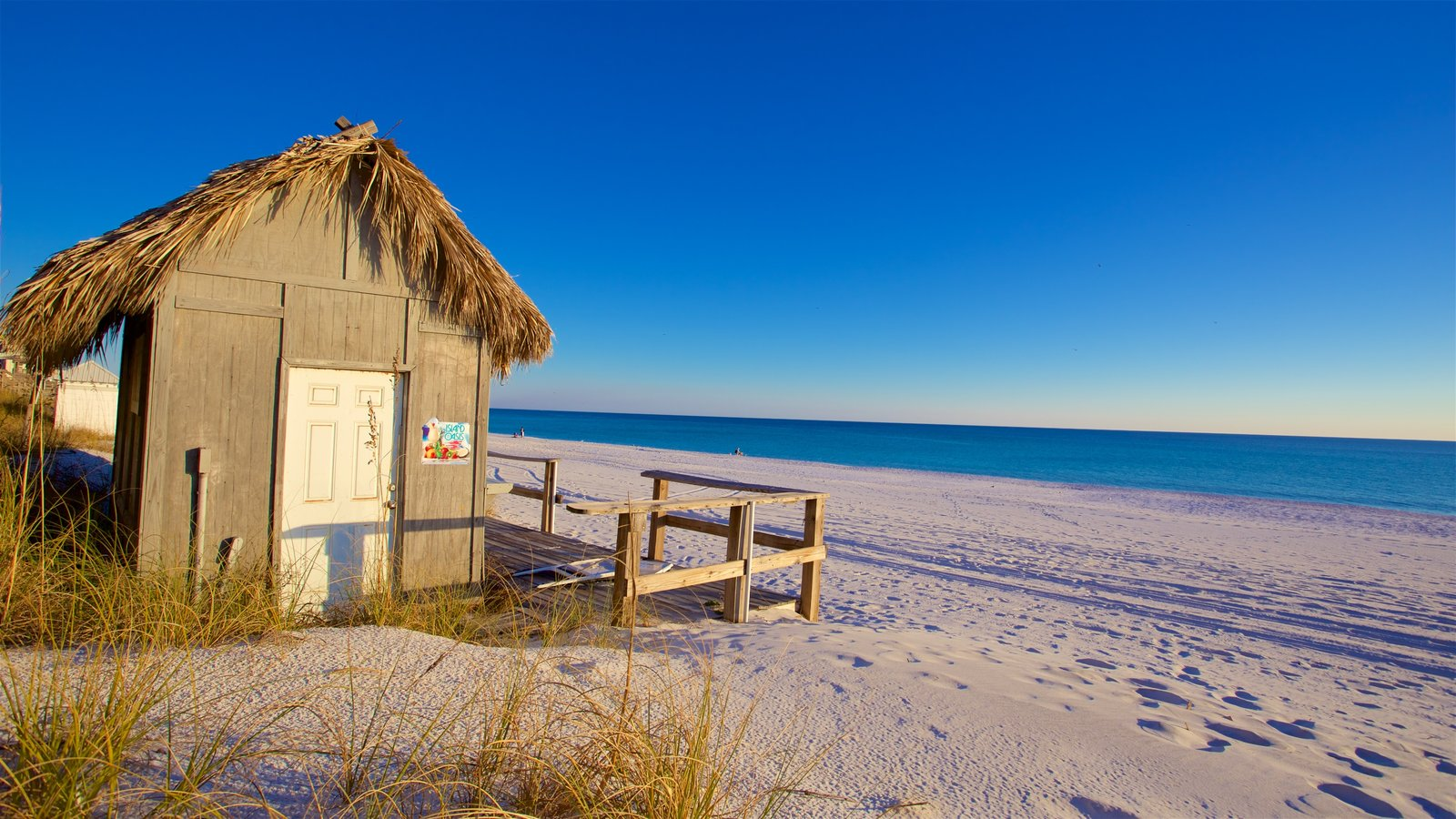 Florida Panhandle showing a sandy beach and a bay or harbor