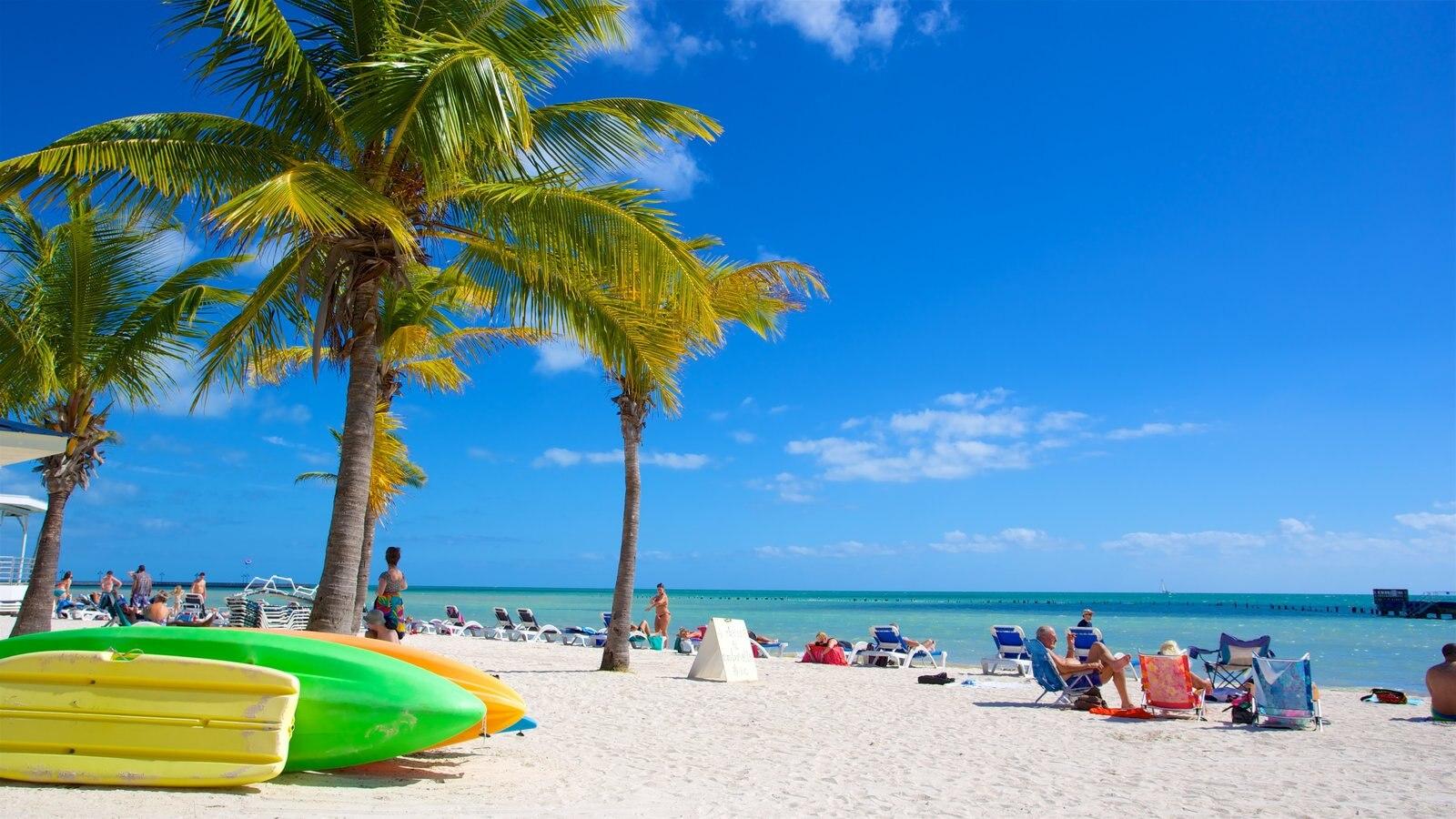 Sul da Flórida caracterizando uma baía ou porto e uma praia assim como um pequeno grupo de pessoas