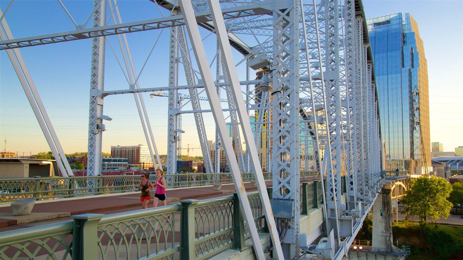Cumberland Park mostrando senderismo o caminata, un puente y una ciudad