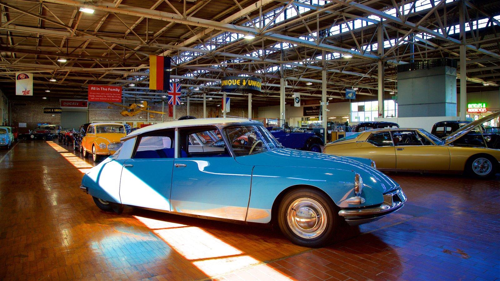 Lane Motor Museum que incluye vistas interiores