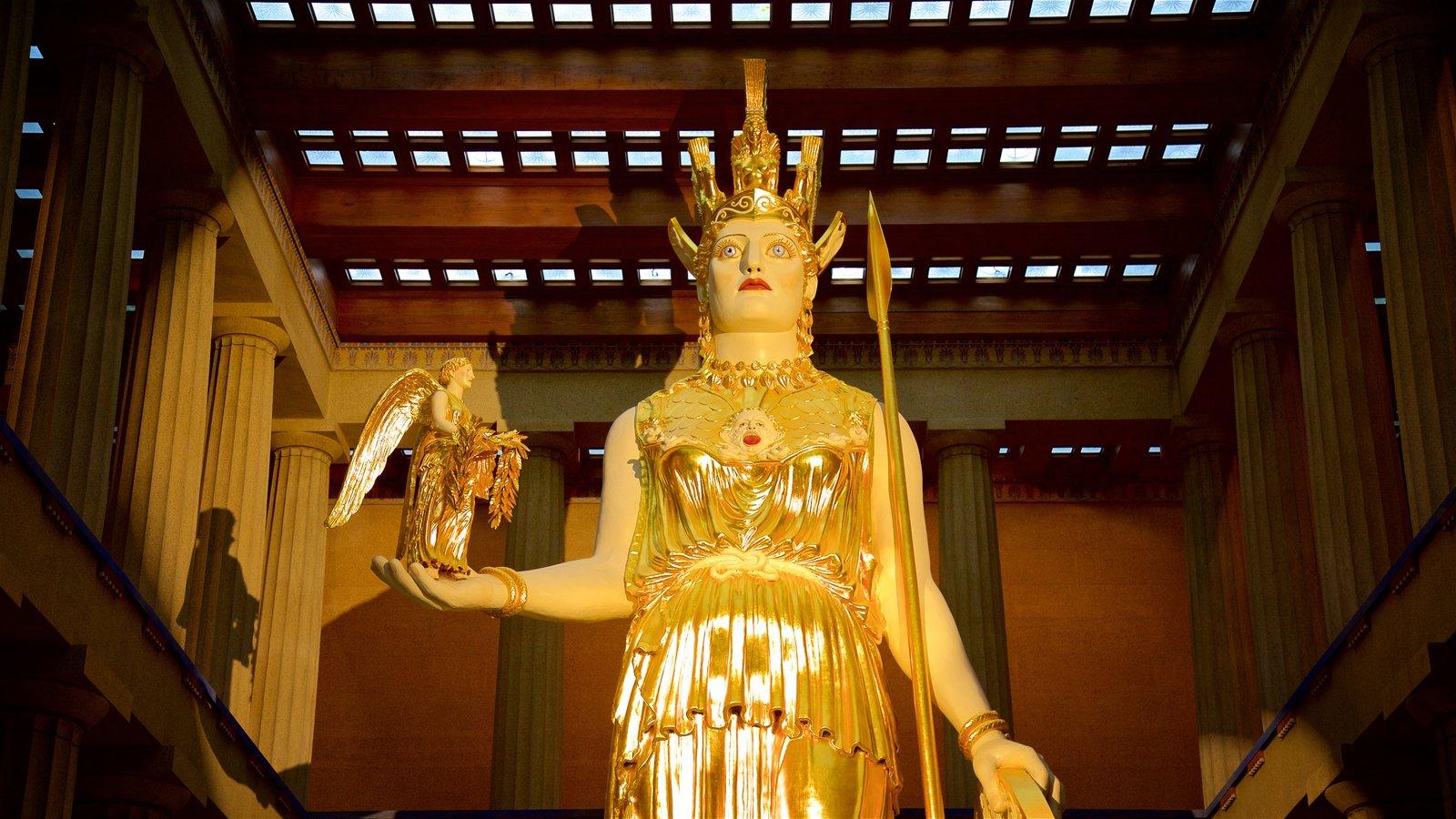 Parthenon que incluye una estatua o escultura y vistas interiores