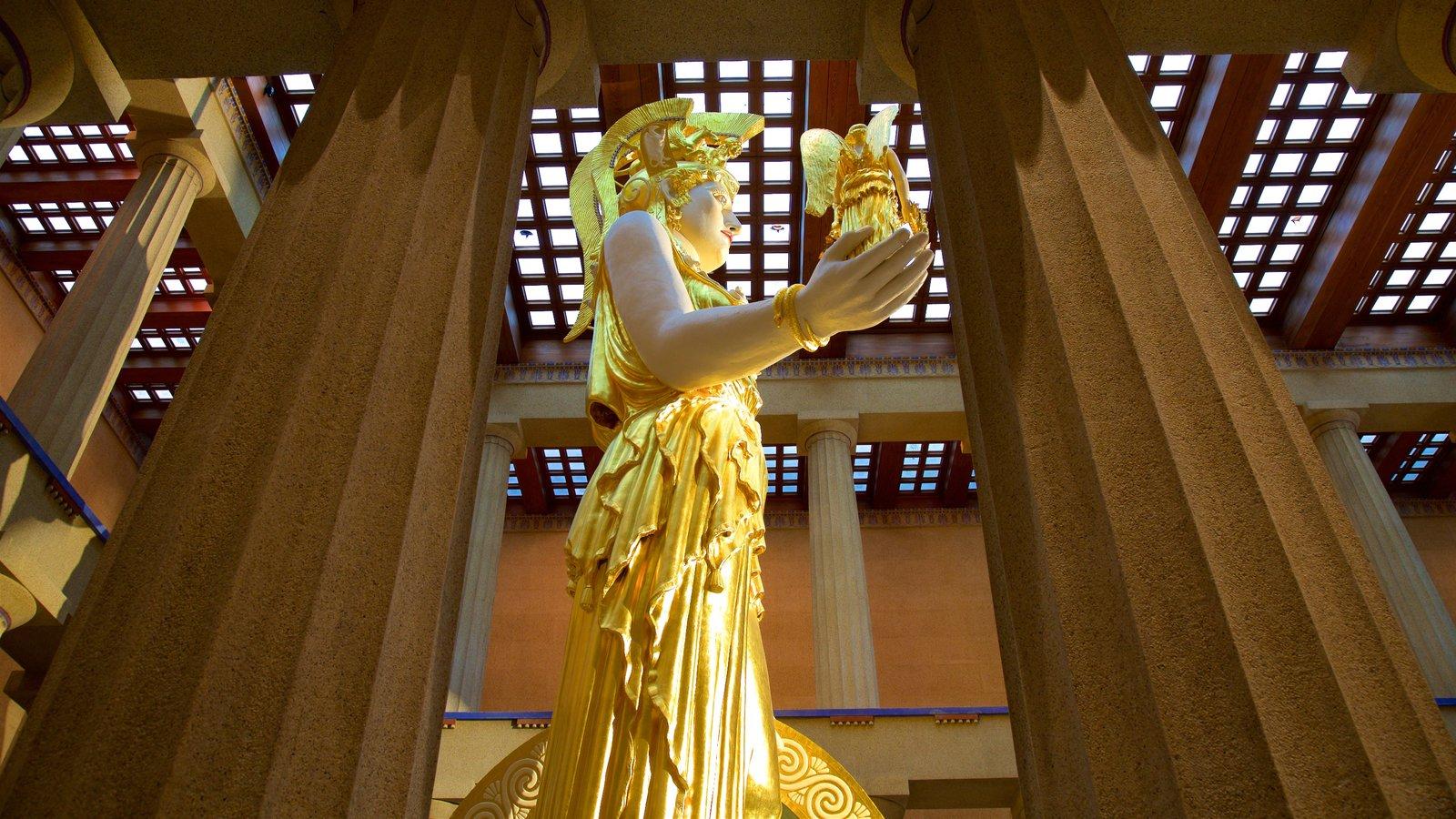 Parthenon ofreciendo elementos del patrimonio, vistas interiores y una estatua o escultura