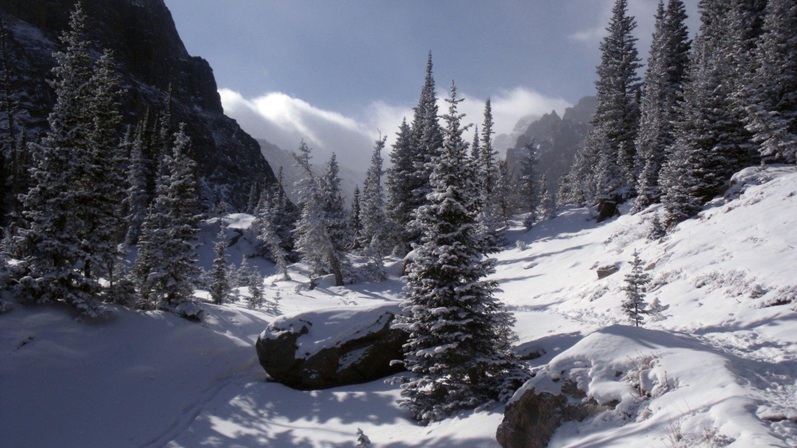 Rocky Mountain National Park que inclui neve e cenas tranquilas