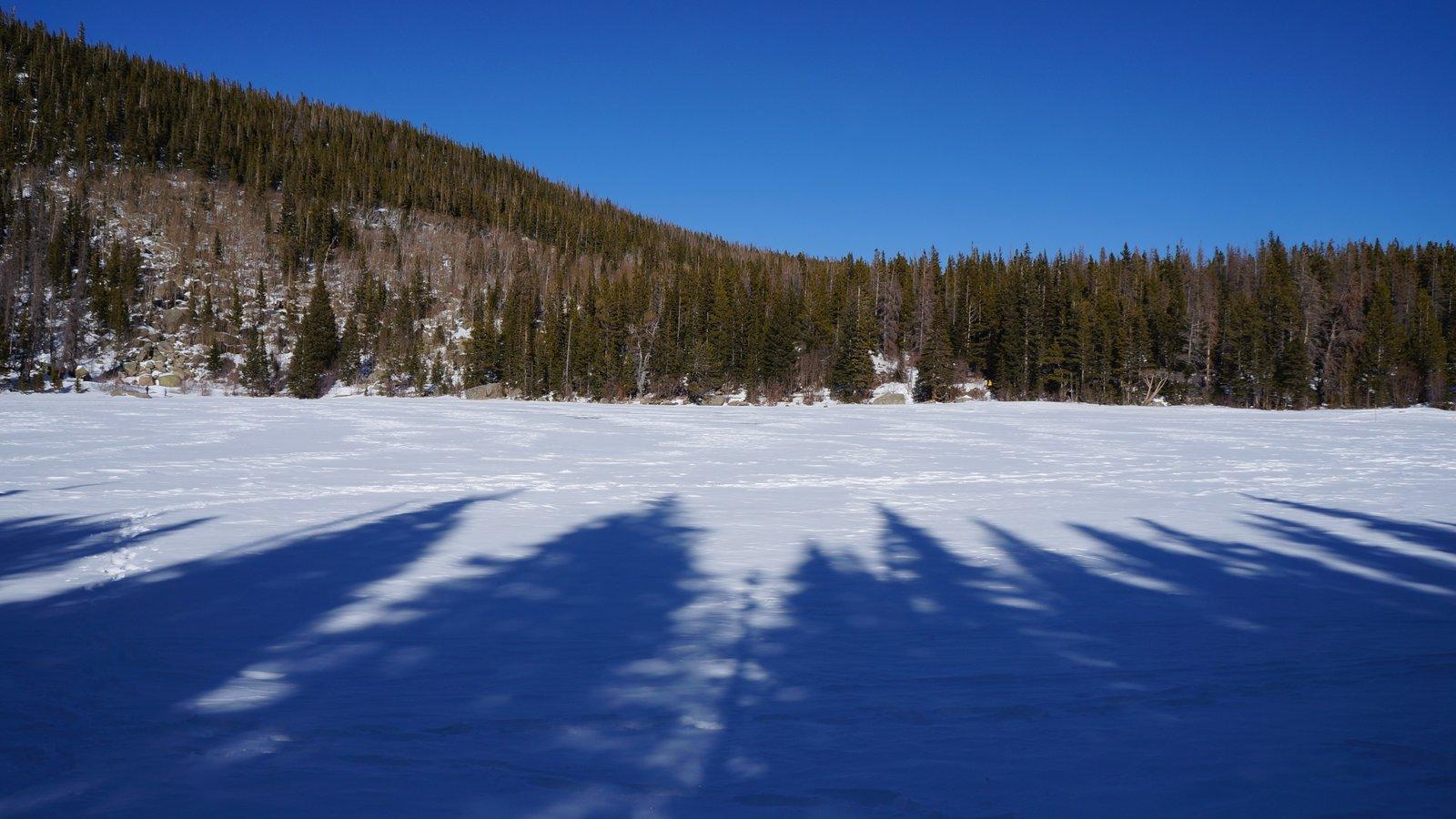 Rocky Mountain National Park que inclui cenas tranquilas e neve