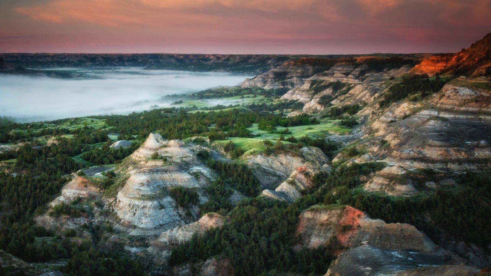 Parque Nacional de Theodore Roosevelt que inclui cenas tranquilas e paisagem