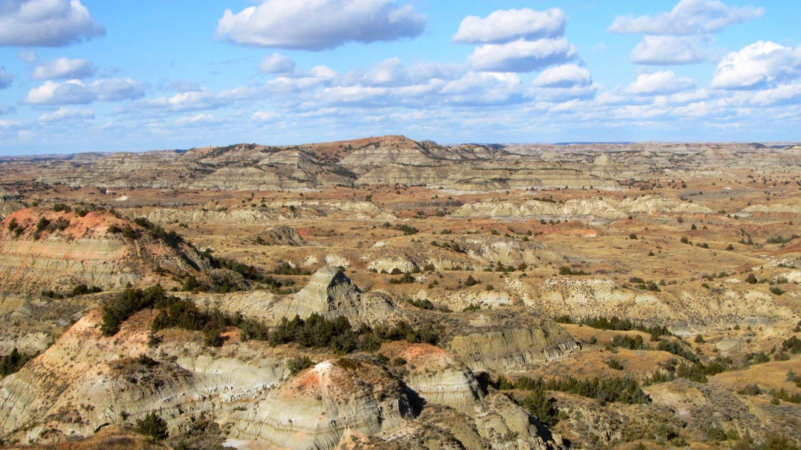 Parque Nacional de Theodore Roosevelt caracterizando paisagem e cenas tranquilas