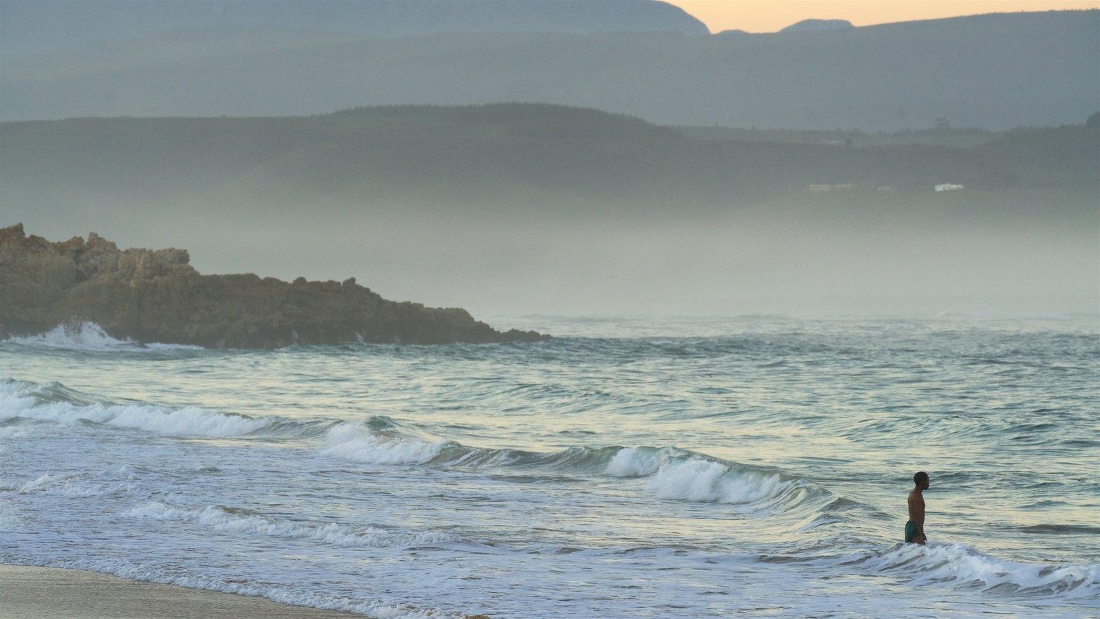 Playa de Plettenberg Bay mostrando neblina o niebla, surf y costa rocosa