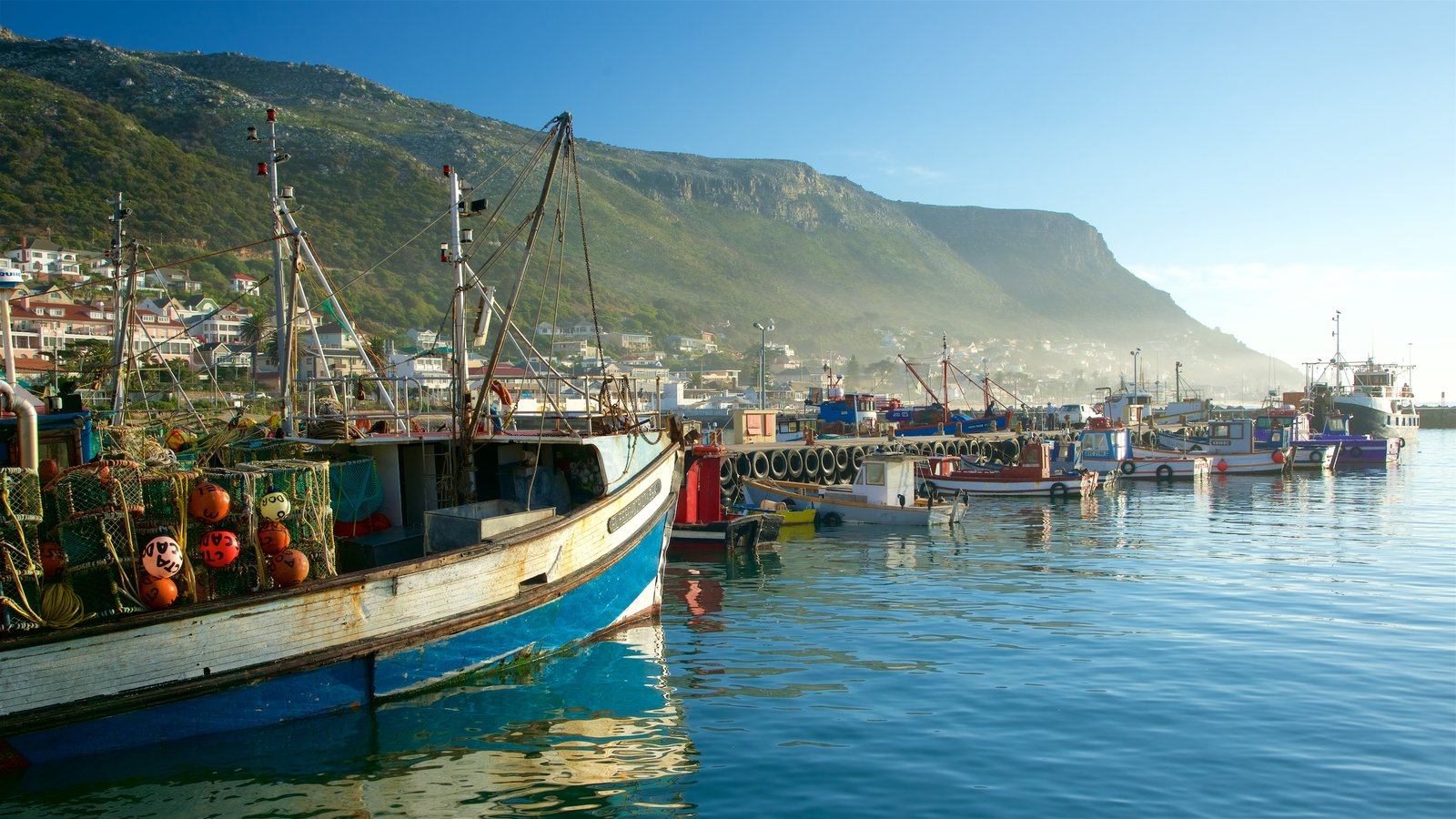 Kalk Bay which includes a bay or harbour, a coastal town and boating