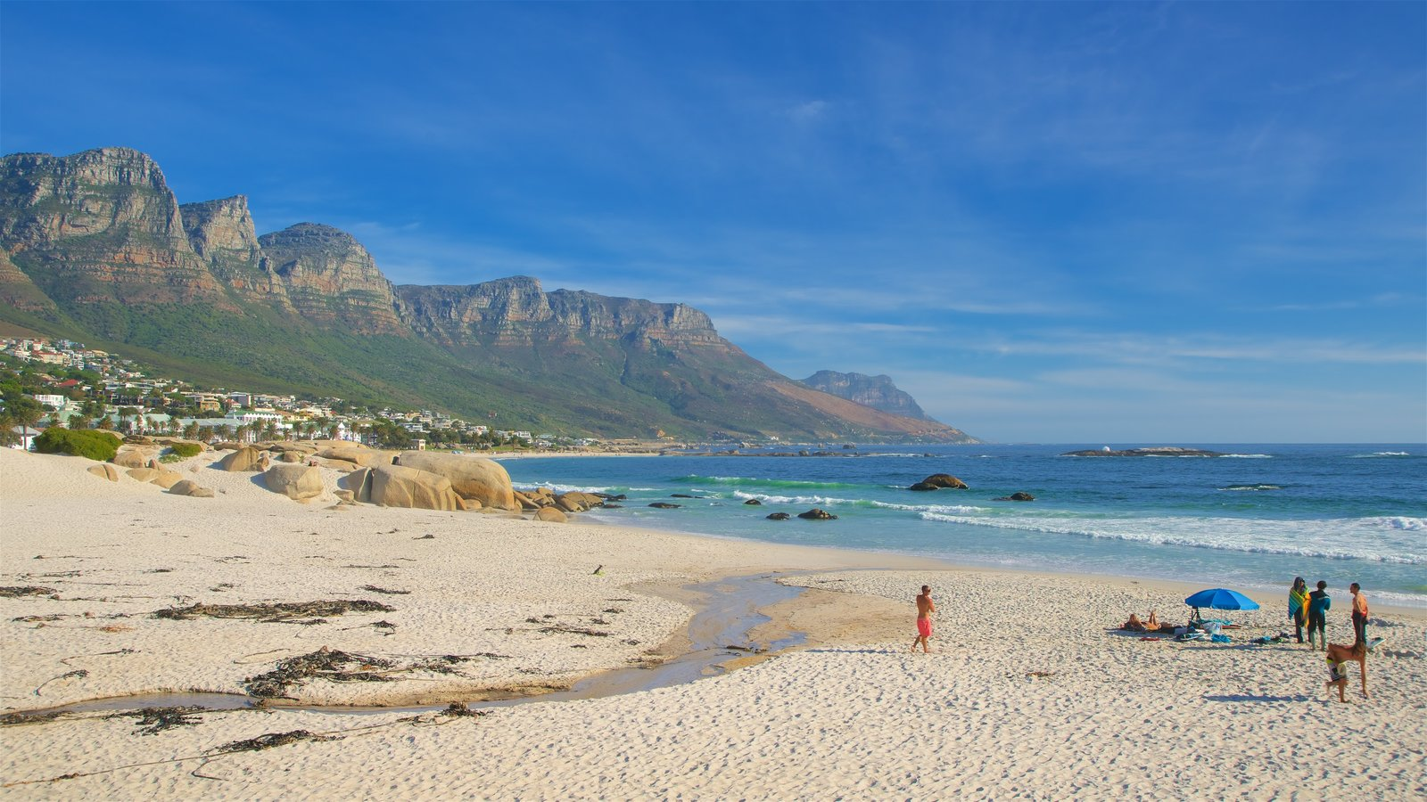 Camps Bay Beach which includes a beach and a coastal town as well as a family