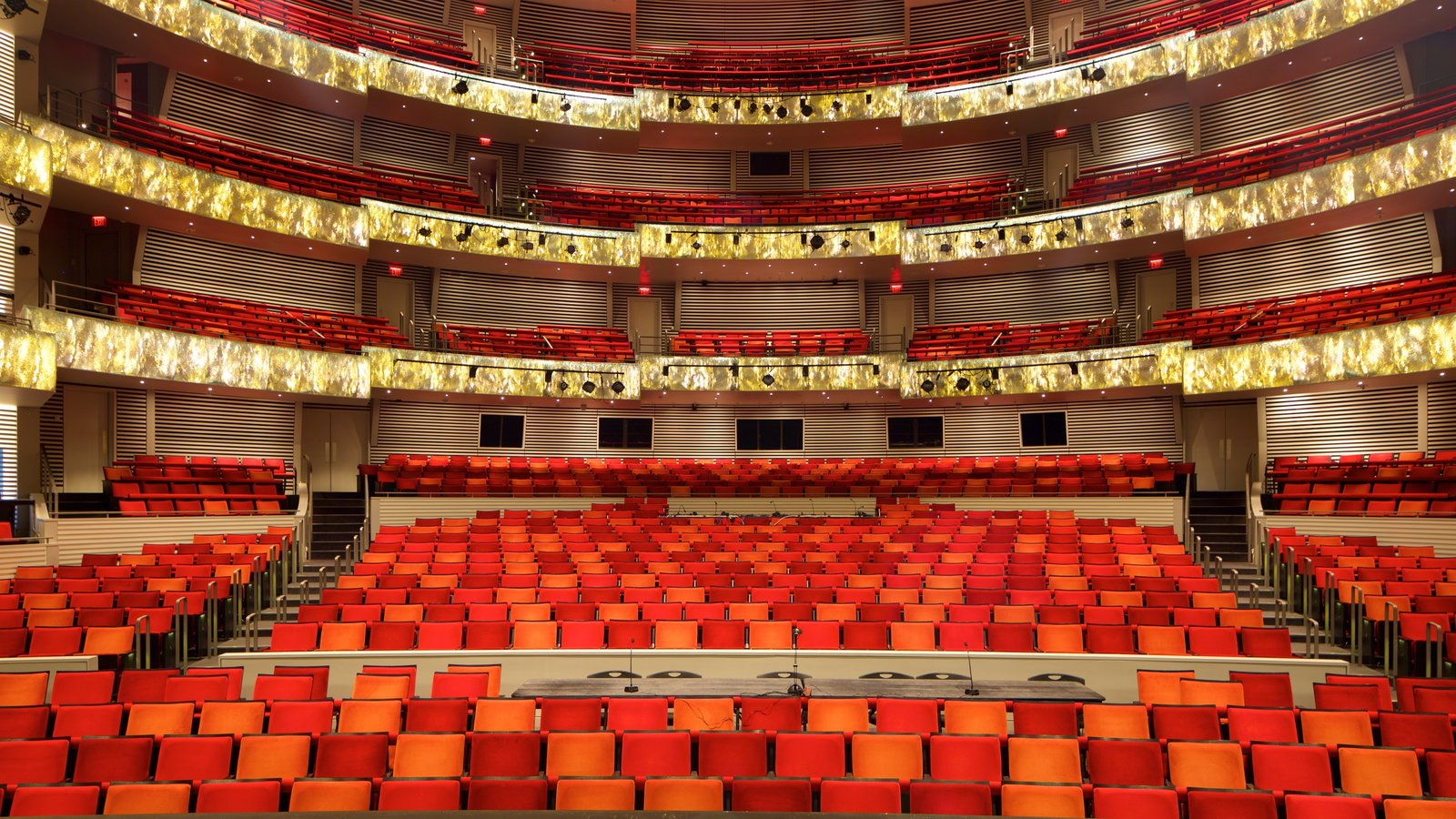 Kauffman Center for the Performing Arts showing interior views and theatre scenes
