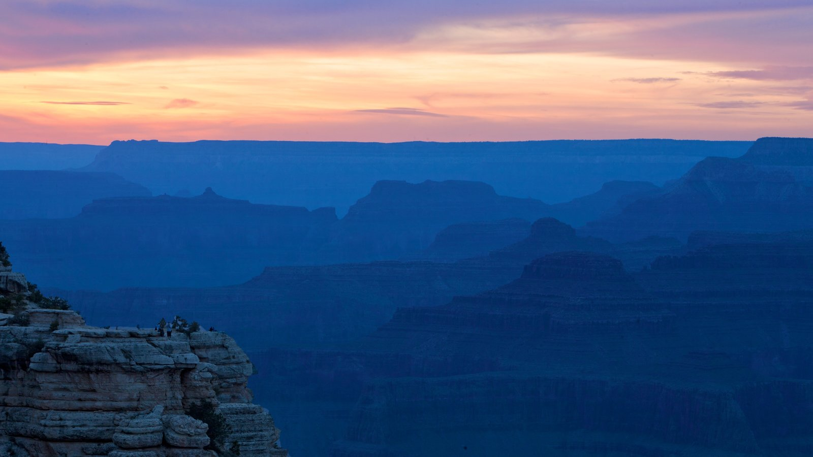 Grand Canyon which includes a sunset, landscape views and a gorge or canyon