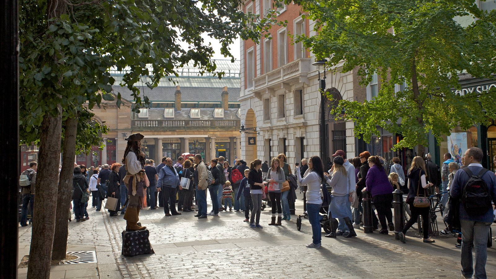Covent Garden which includes a city and heritage architecture as well as a large group of people
