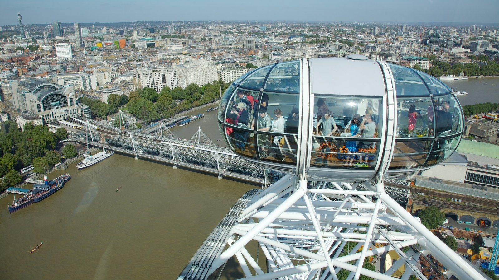 London Eye ofreciendo un río o arroyo, vistas y arquitectura moderna