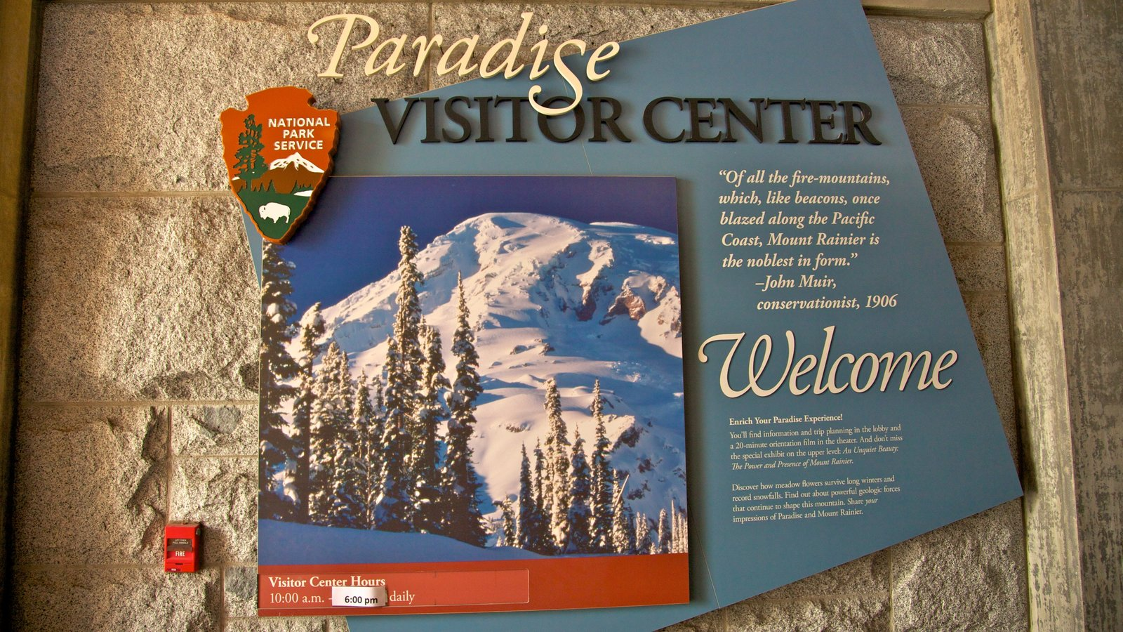 Mount Rainier National Park which includes signage