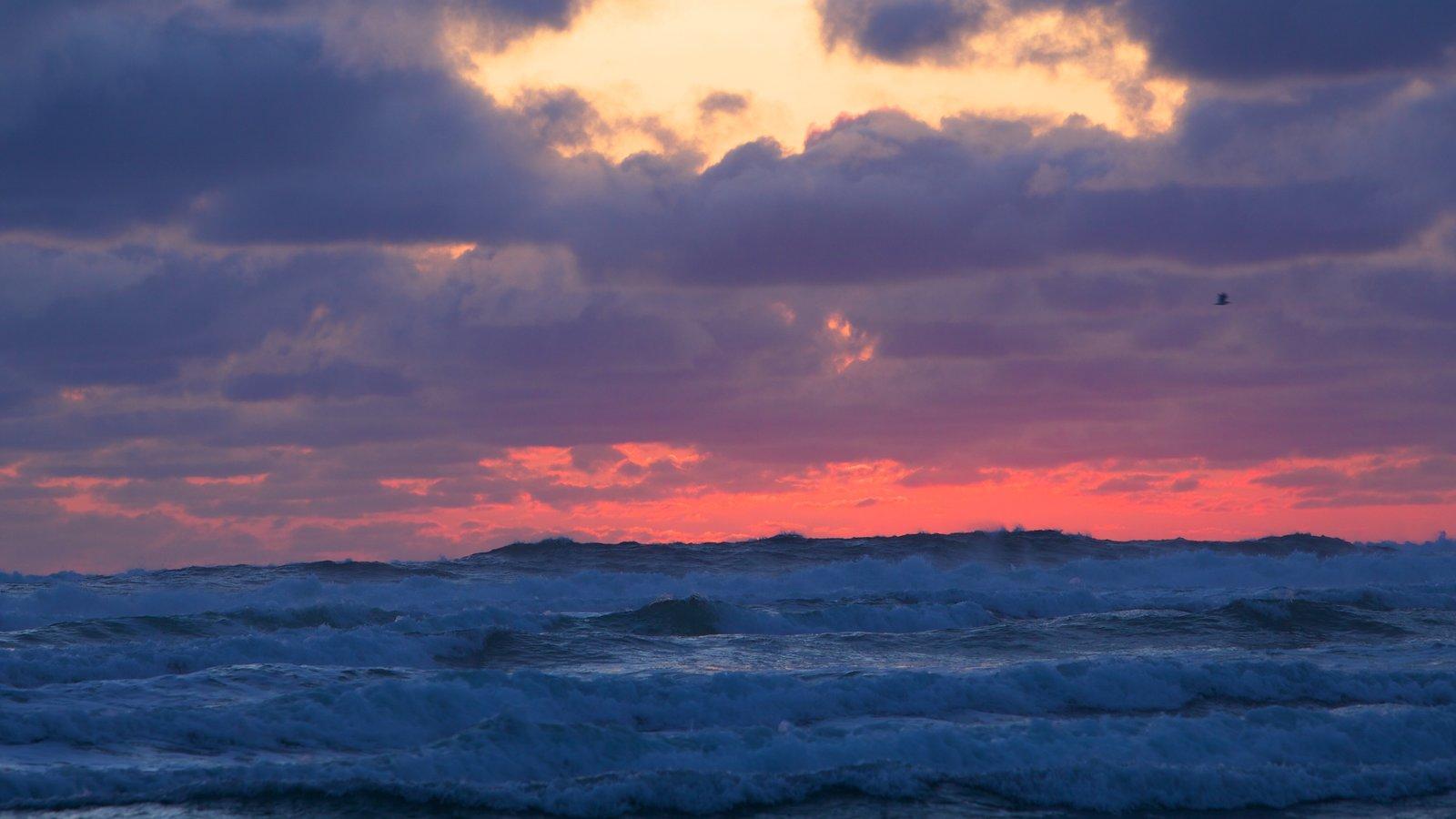 Cannon Beach que inclui ondas e um pôr do sol