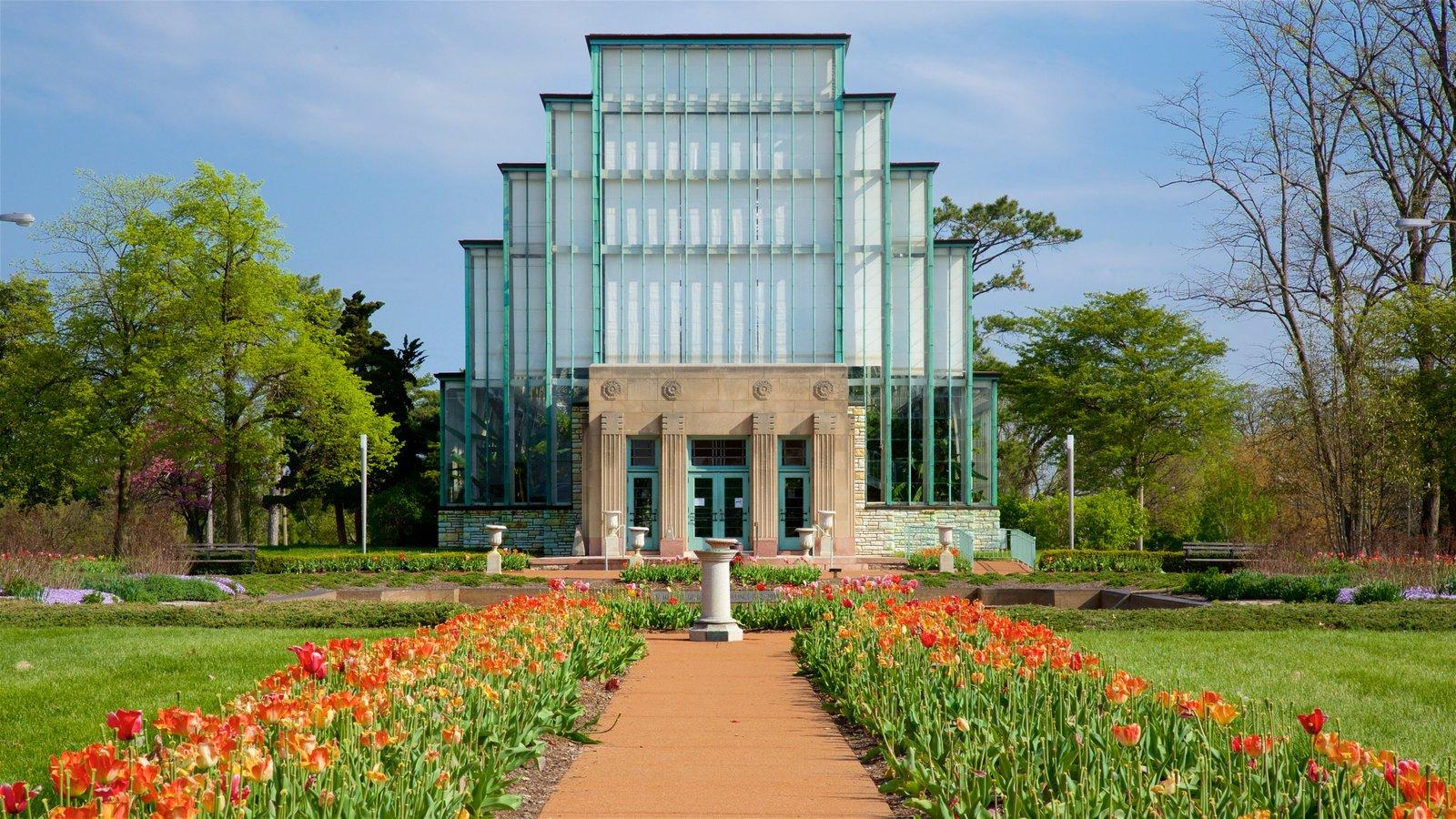 Forest Park mostrando flores silvestres, um jardim e arquitetura moderna