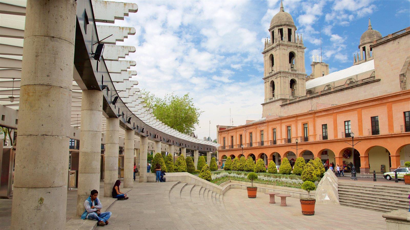 Toluca ofreciendo patrimonio de arquitectura, un parque o plaza y una iglesia o catedral
