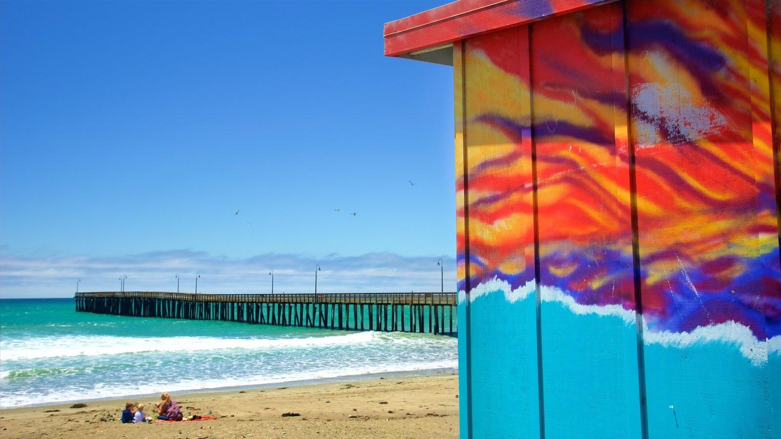 Cayucos State Beach caracterizando paisagens litorâneas, uma praia e arte ao ar livre