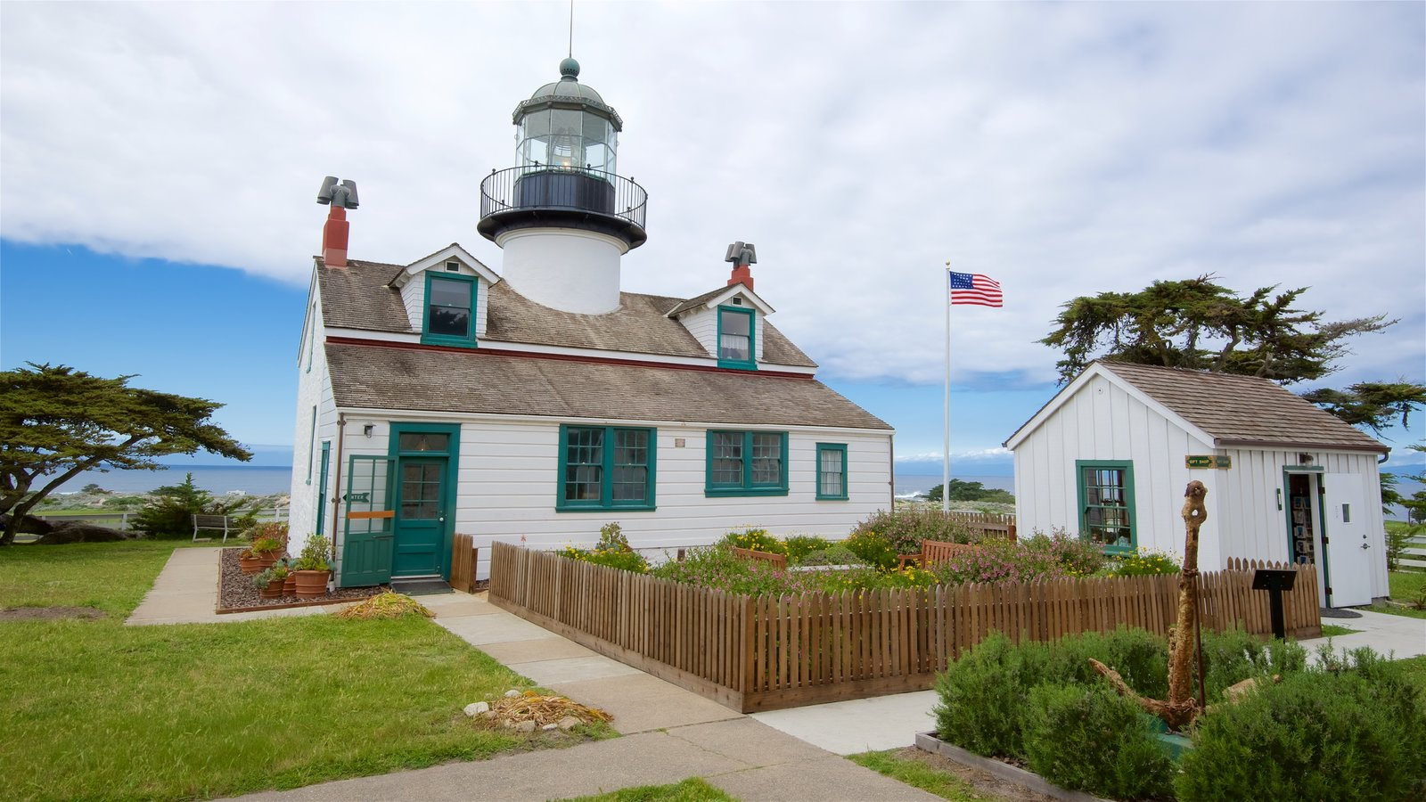 Point Pinos Lighthouse which includes general coastal views and a lighthouse