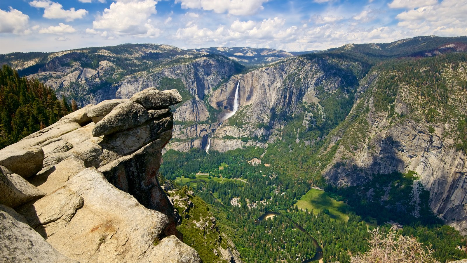 Glacier Point featuring forest scenes, landscape views and a gorge or canyon