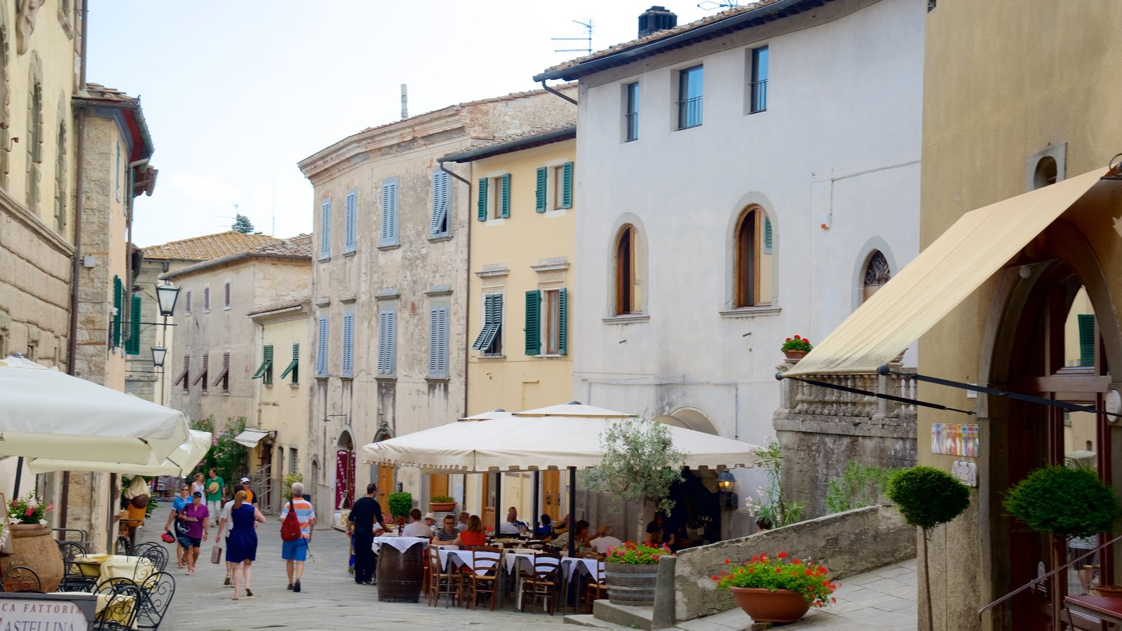 Castellina in Chianti showing a city, street scenes and heritage elements