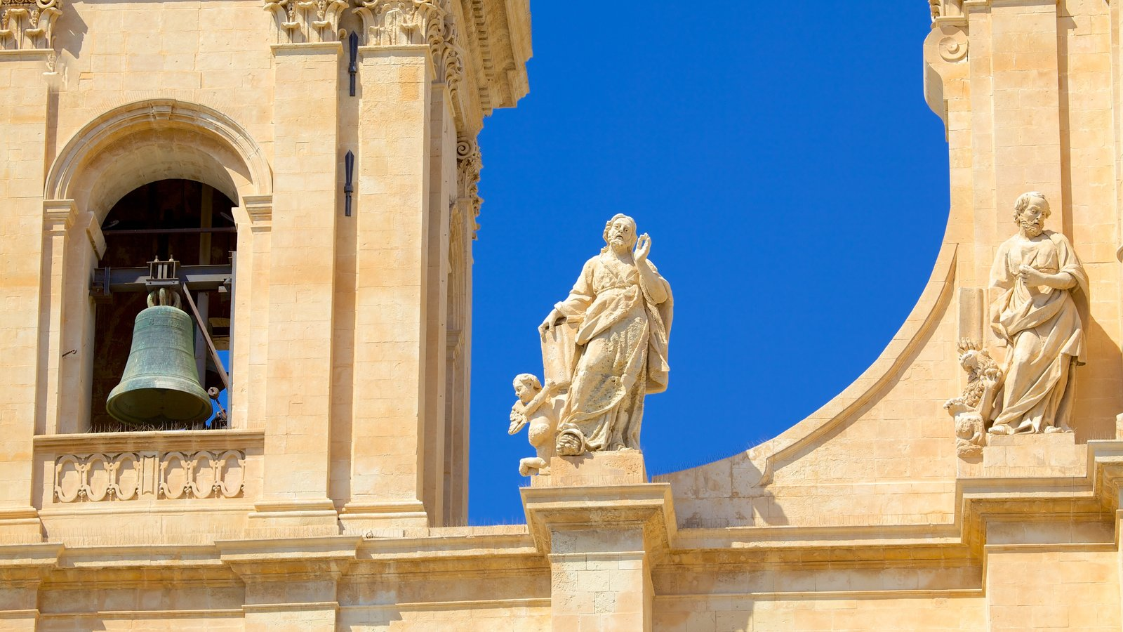 Cathedral of Noto which includes heritage architecture, a church or cathedral and a statue or sculpture