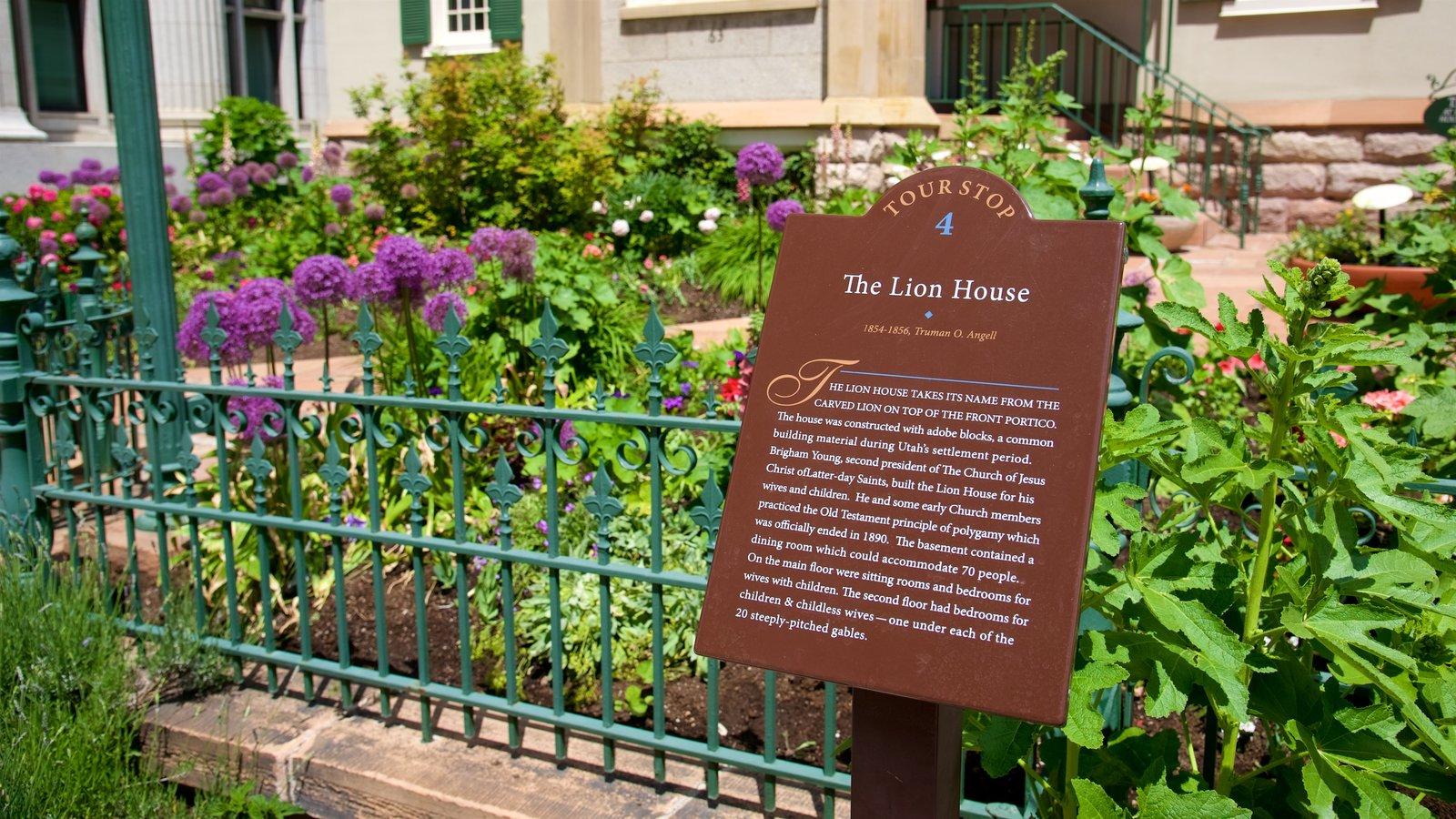 Lion House que incluye señalización y flores