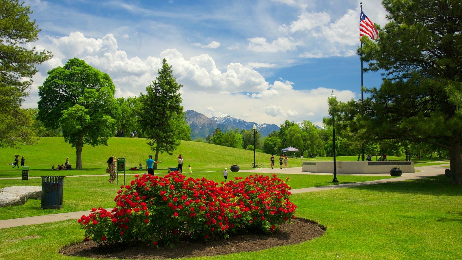 Parque Liberty mostrando flores y un jardín