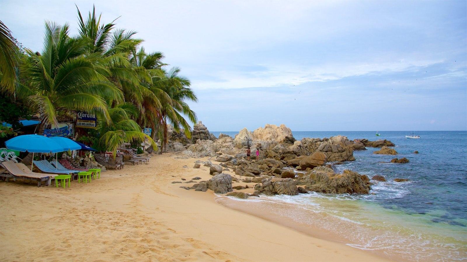 Puerto Escondido ofreciendo una playa, vistas generales de la costa y costa rocosa