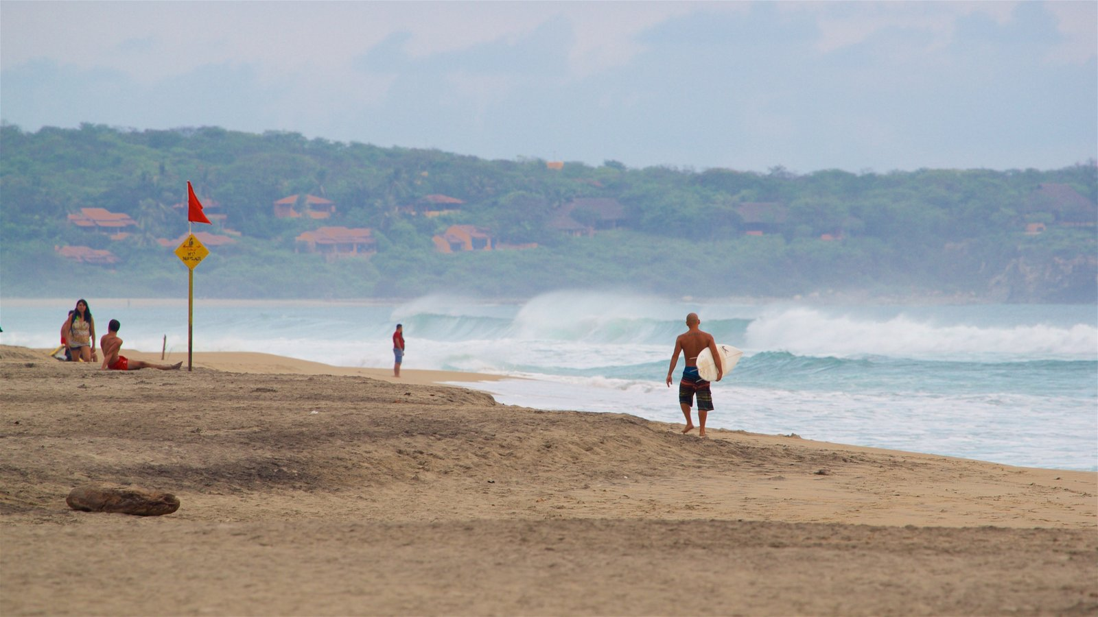 Zicatela Beach featuring a sandy beach, surf and general coastal views
