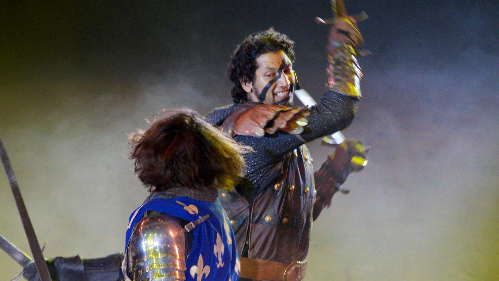 Cena show Medieval Times mostrando arte escénica y también un hombre