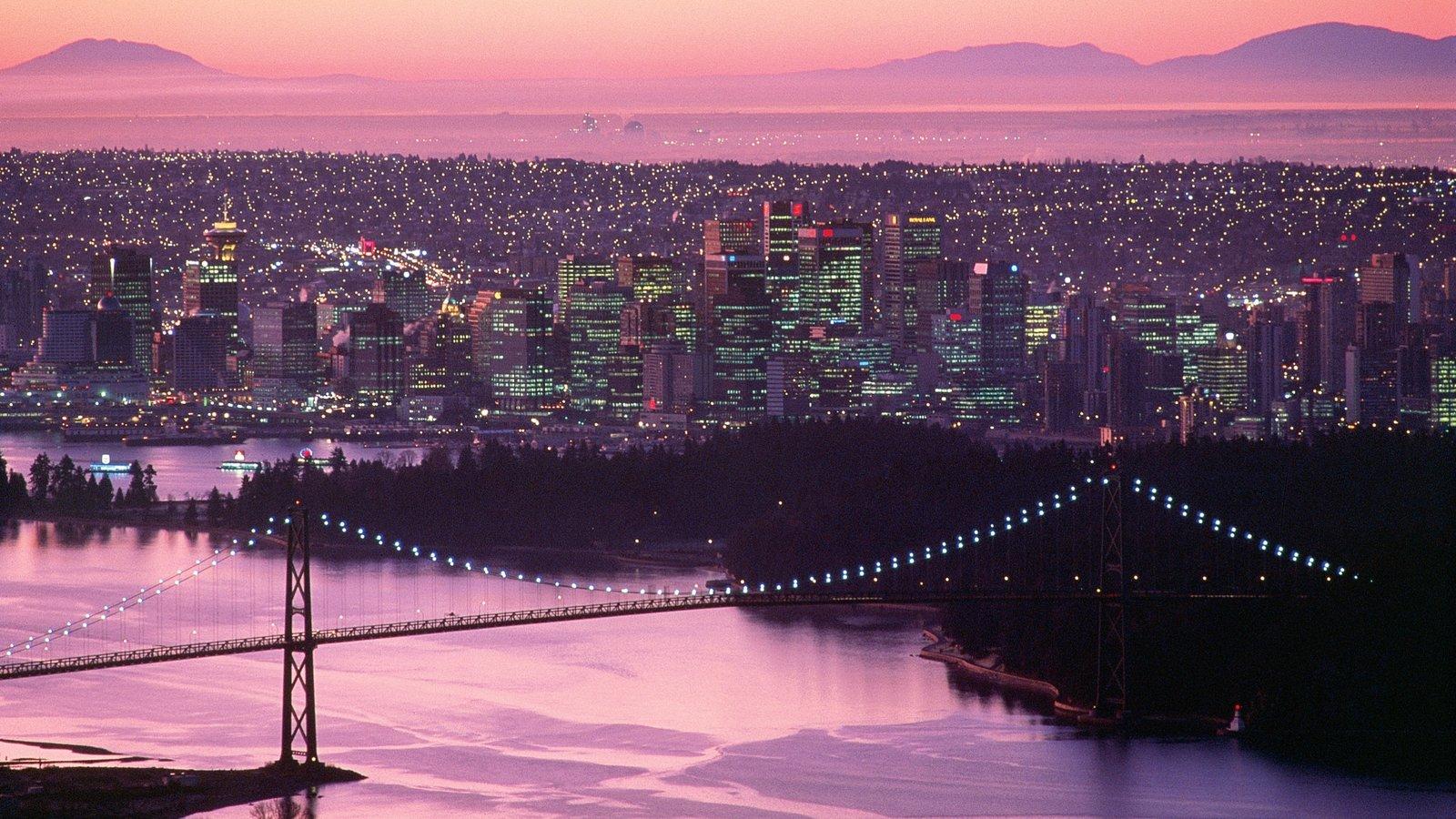Vancouver showing a suspension bridge or treetop walkway, a bridge and a city
